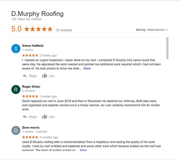 dmurphyroofing hatfield Google Reviews